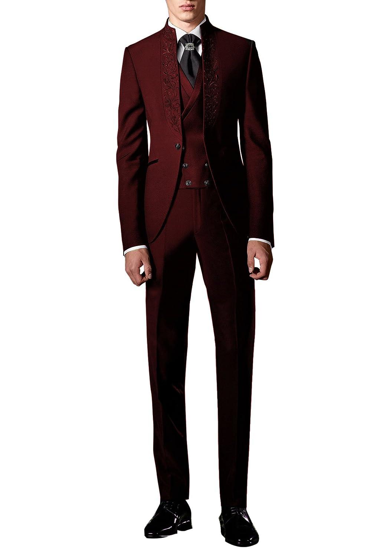 Suit Me Uomo 3 pezzi abiti smoking festa nuziale del ricamo smoking abiti  pezzi giacca 12714101dc1