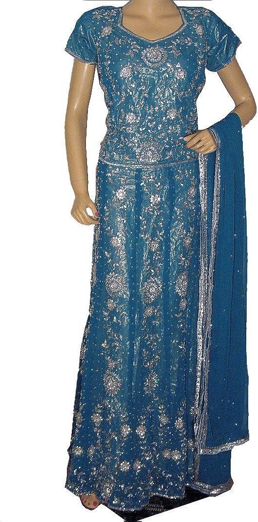 Amazon Com Novahaat Blue Lehnga Sharara Skirt Indian Wedding Wear Dress Designer Lehenga Choli L Clothing