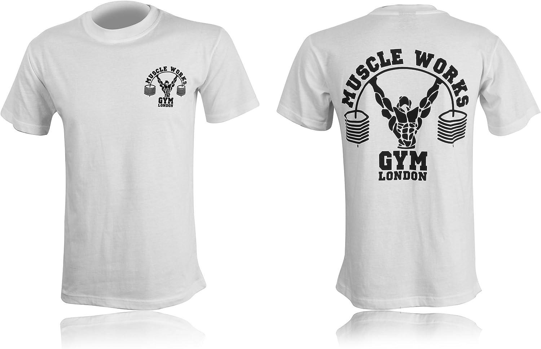 Blanco Camiseta Muscle Works Gym con impresi/ón para hombre