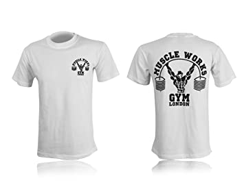 2019 discount sale new images of utterly stylish Muscle Works Gym Printed Men's T-shirt White
