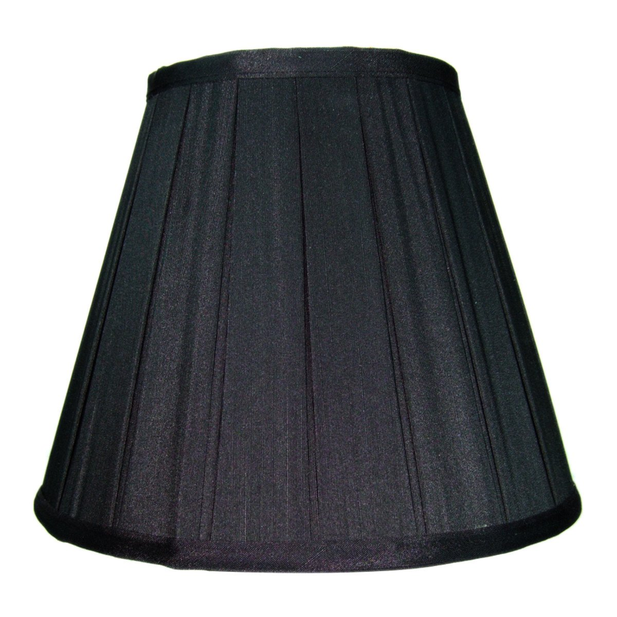 5x10x8 Empire Box Pleat Black Shantung Fabric Lampshade with Gold Liner By Home Concept - Perfect for small table lamps, desk lamps, and accent lights -Medium, Black