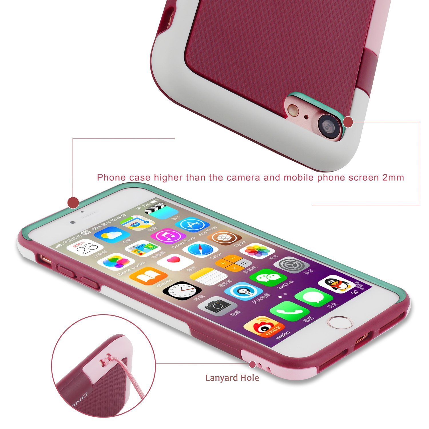 iphone 7 Case Flexible Durable Shock-Absorption Protective Case Ultra Impact 3 Color Shockproof Bumper CLONG Anti-Scratch Slim Hybrid Soft TPU & Hard PC Cover for Apple iPhone 7 4.7 inch(Wine Red)