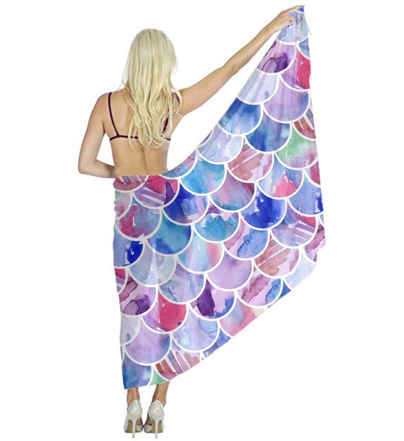 Silk Like Scarf Women's Fashion Large Satin Shawls Colorful Mermaid Fish Scales Headscarf