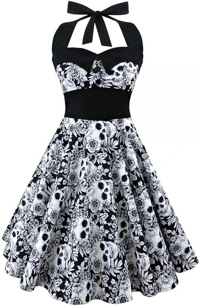 Fantasy Closet Damen Blumendruck-Neckholder-Ärmel Vintage A-Line-Kleid mit elastischer Taille Cocktailabend-Party-Minikleid