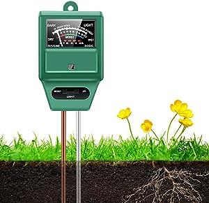 HAYI Soil pH Meter, 3-in-1 Soil Moisture/Light/pH Meter, Moisture Meter for Plants, Digital Soil Test Kit, Plant Moisture/Light/pH Meter Indoor & Outdoor, No Battery Required