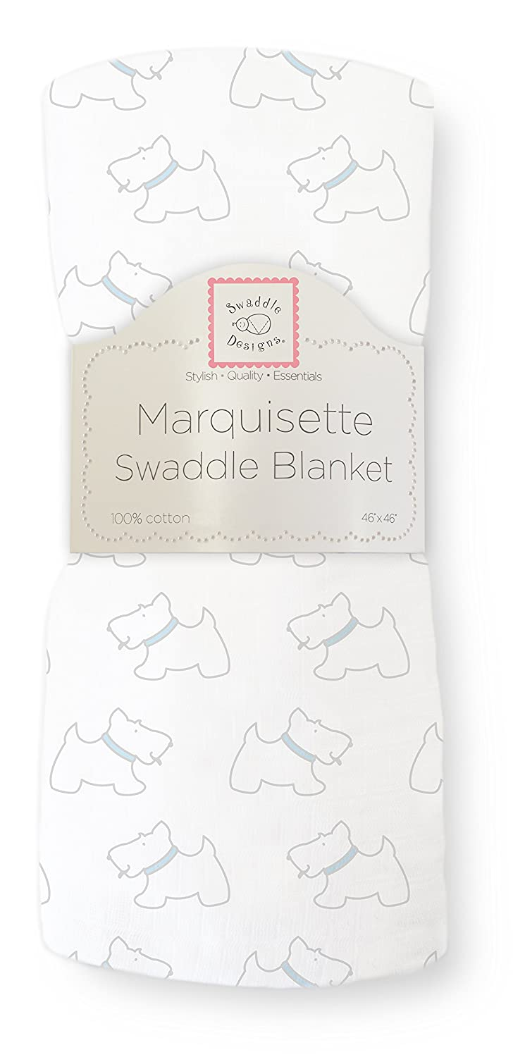 SwaddleDesigns Marquisette Swaddling Blanket, Premium Cotton Muslin, Little Doggie, Pastel Blue SD-624PB
