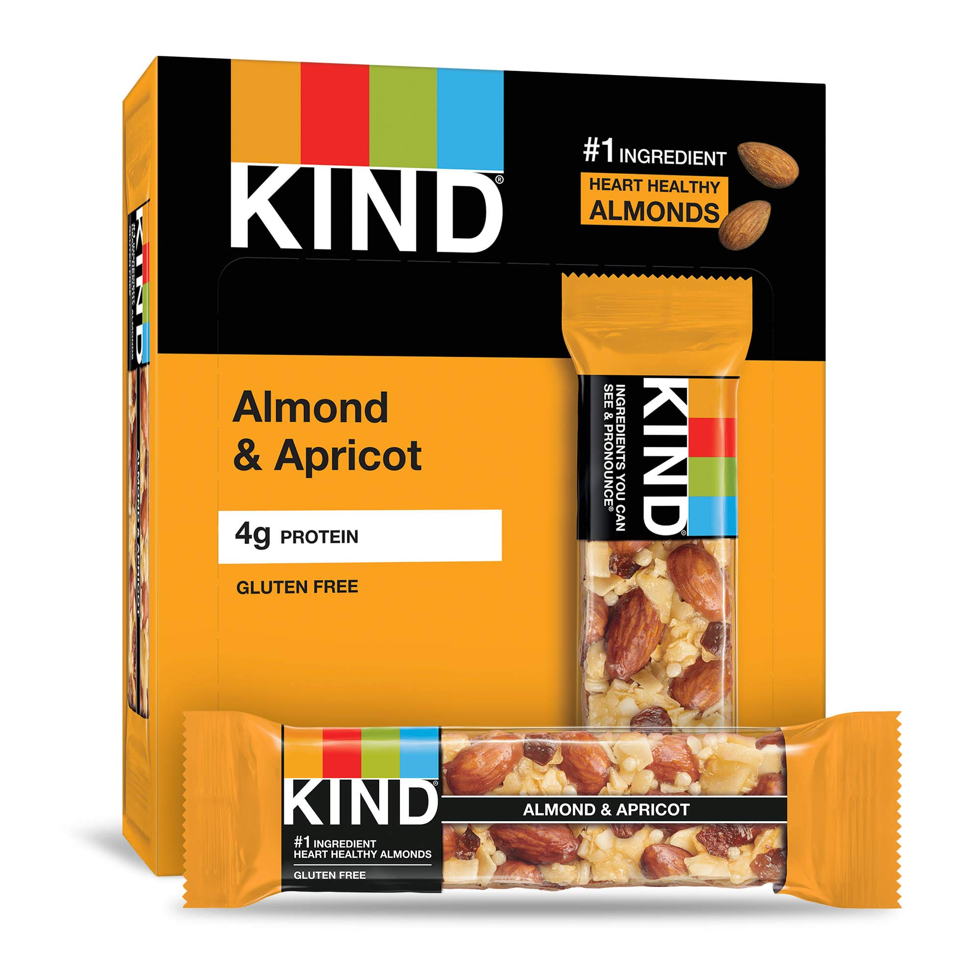 KIND Bars, Almond & Apricot, Gluten Free, Low Sugar, 1.4 Ounce Bars, 12 Count (Packaging May Vary) by KIND