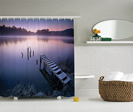 Seascape Shower Curtain By Lunarable Misty Lake Wooden Pier Distant Forest In Early Morning Fantasy
