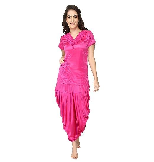 f3eb5d41e0 Pretty Girl Awesome Women s Satin Patiala Night Suit (PG786--L
