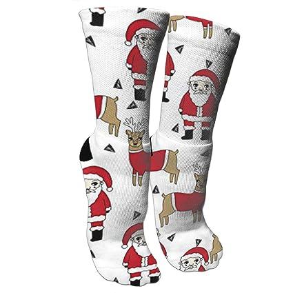 9d93893e48 Amazon.com: Santa and Reindeer Xmas Holiday Fashion Stylish Knee High Socks  for Women and Men-Fitness Novelty Crew Athletic Socks Comfortable Knee High  ...