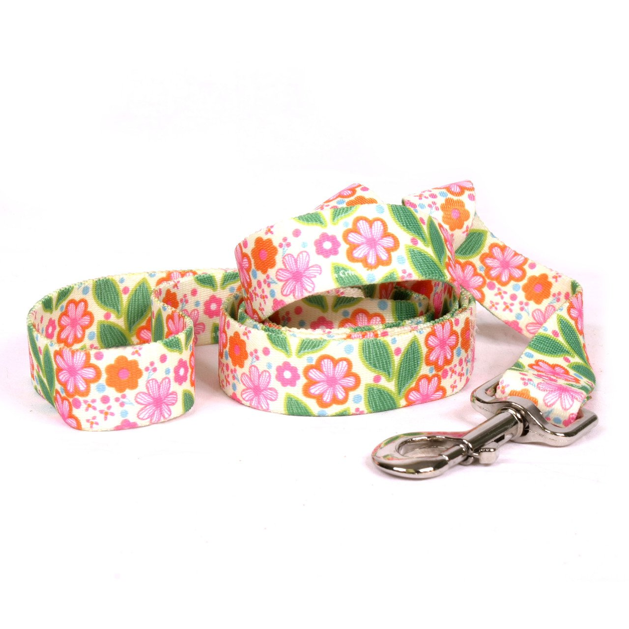 Large Yellow Dog Design Flower Patch Dog Leash 1  Wide and 5' (60 ) Long, Large