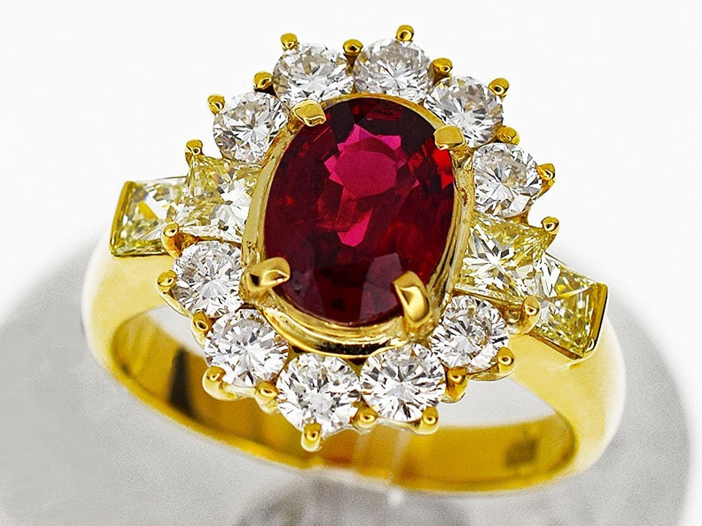 ビルマ産 レッドスピネル(Spi1.17ct) ダイヤモンド(D1.39ct) リング 約11号 #51 750 K18 YG イエローゴールド GIA鑑別書 レディース 26760902 B077XHZ51B