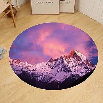 Amazon.com: Gzhihine Custom round floor mat Modern Decor Snowy ...
