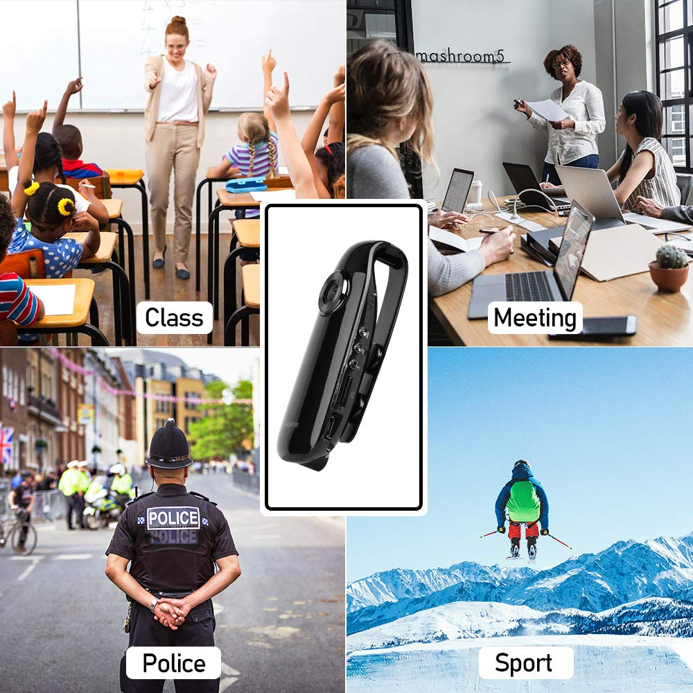 Portable Camera Body Camera Bicycle Recorder Wearable HD 1080p Camera Motorcycle Recorder for Driving Recorder Travel Recorder Black