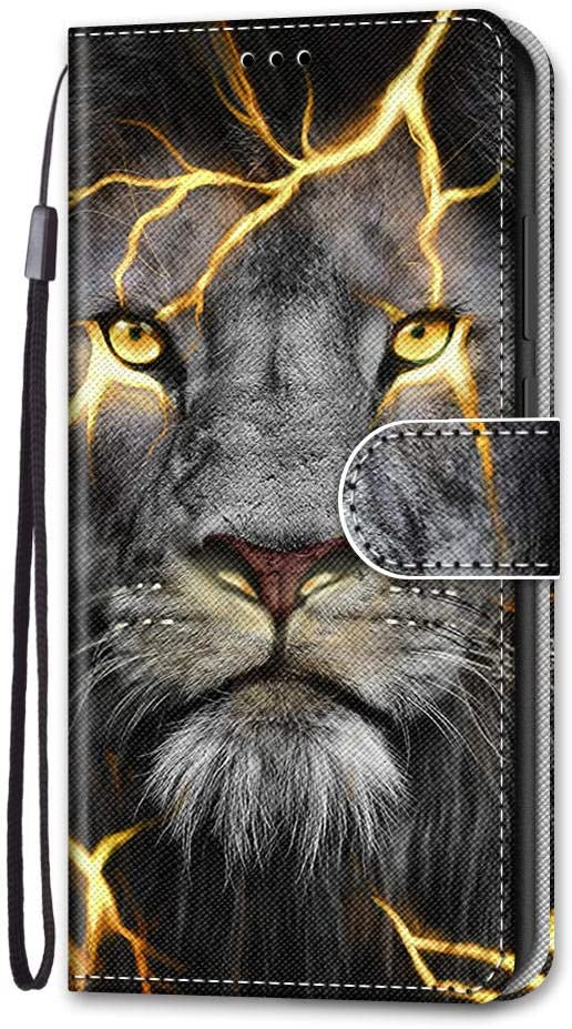 Unichthy Samsung Galaxy A21s Case Folio 3D Shockproof Bumper Flip Wallet Cover Soft Silicone Back Bumper Stand Card Slots Notebook Protective Phone Case for Samsung Galaxy A21s Wolf