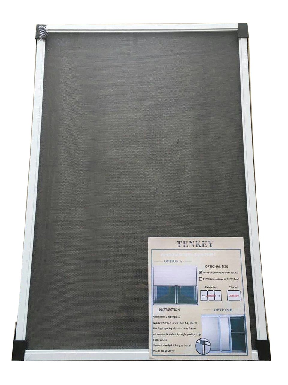 Tenkey Adjustable White Mosquito Proof Window Screen 19.86'' High x (30~52.8'')