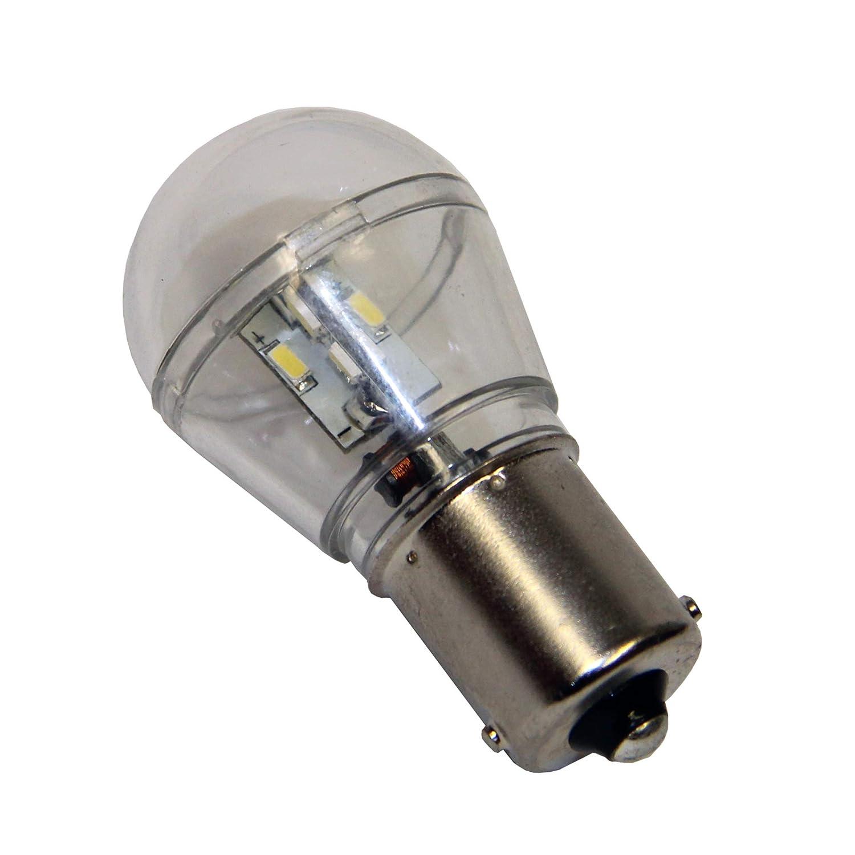 15 SMD LED Lampe mit Schutzkapsel, wasserfest (IP65) für BAS-15 Sockel Lampe für Boot, Schiff Marine Beleuchtung Positionsleuchten Verbrauch nur 1,2W 150lm BAS 15 BA15s - 12-24 Volt weiß Startechnik 15-SMD-IP-BAS