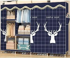 XHCP Clothes Wardrobe Armoire Closet, Not-Woven Fabric Storage Organizer Bedroom Armoire -Navy Blue L210xw45xh165cm(83x18x65inch)