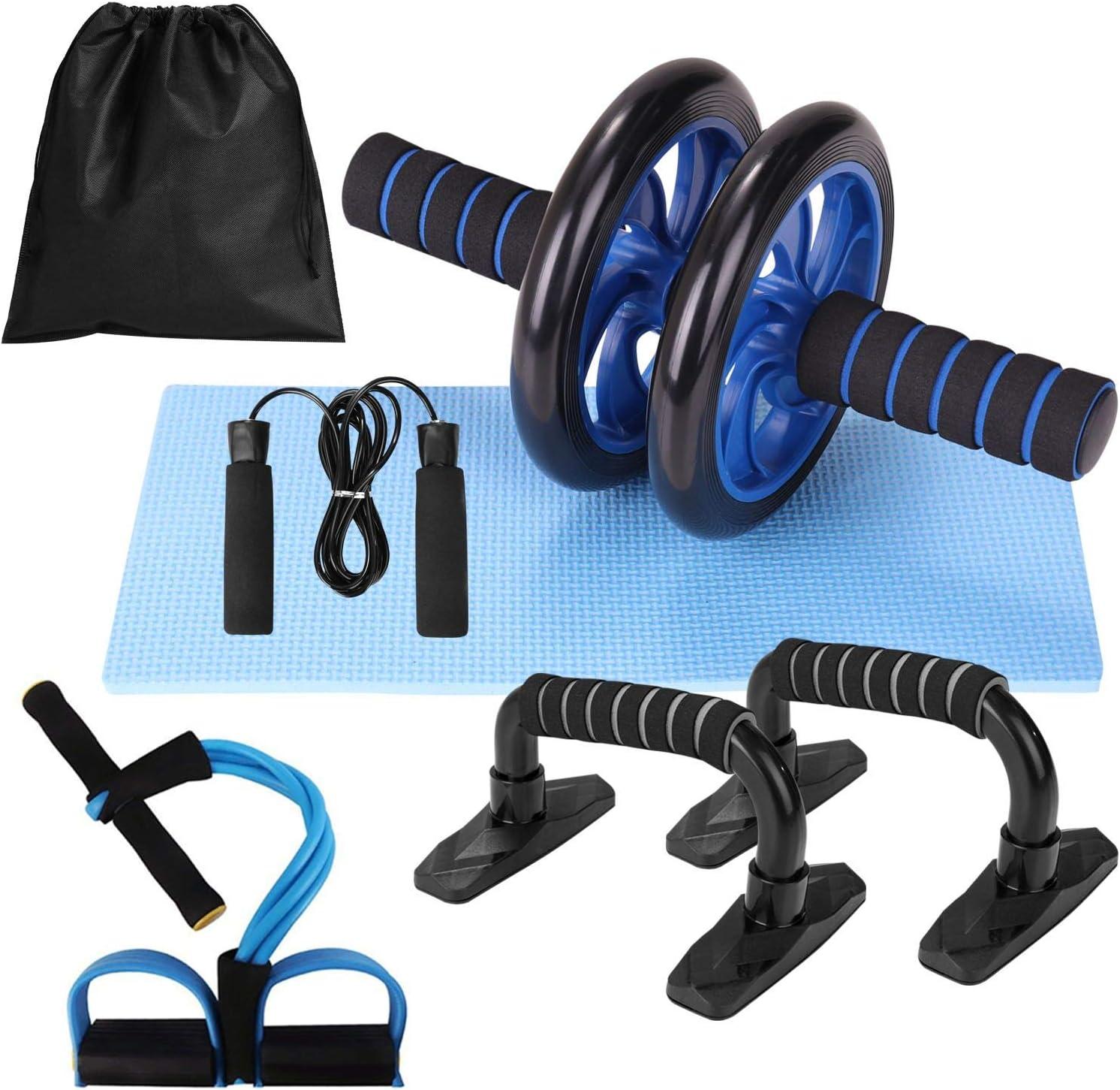 Lixada Rueda Abdominal Kit con Push-UP Bar Cuerda para Saltar Esterilla de Rodilla para Fuerza Muscular Fitness Ejercicio en Casa 4/5pcs