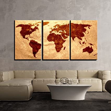Vintage world map wall painting 3 panels multiple frames split vintage world map wall painting 3 panels multiple frames split painting on 5 mm white gumiabroncs Gallery