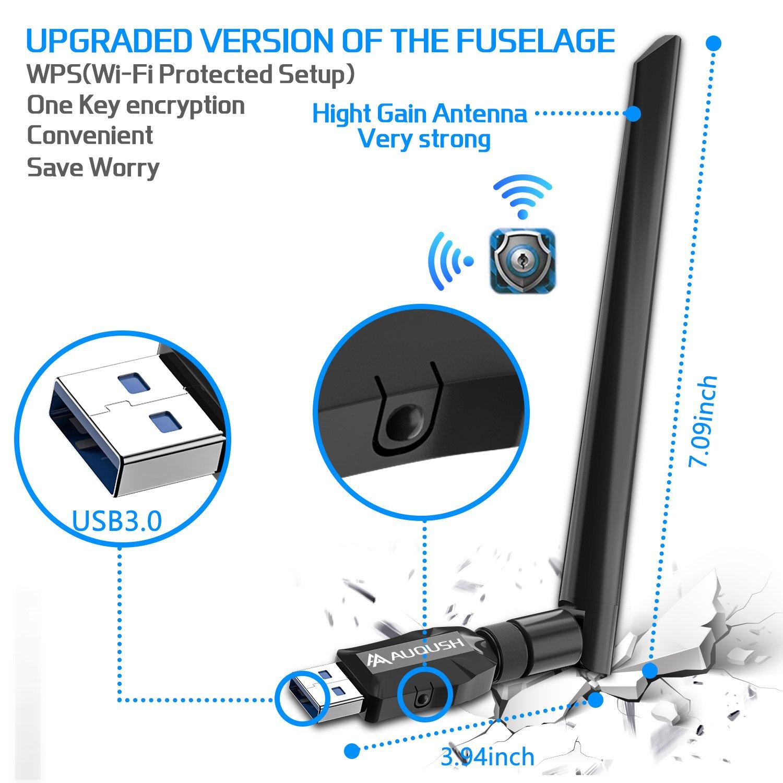 AUQUSH USB WiFi Adaptador 1200Mbit/s[5.8G/867Mbps+2.4G/300Mbps] AC de Banda Dual y WLAN Stick con Conector de Antena y Antena Desmontable