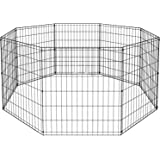 "BestPet Puppy Pet Playpen 8 Panel Indoor Outdoor Metal Protable Folding Animal Exercise Dog Fence,24"",30"",36"",42"",48"""