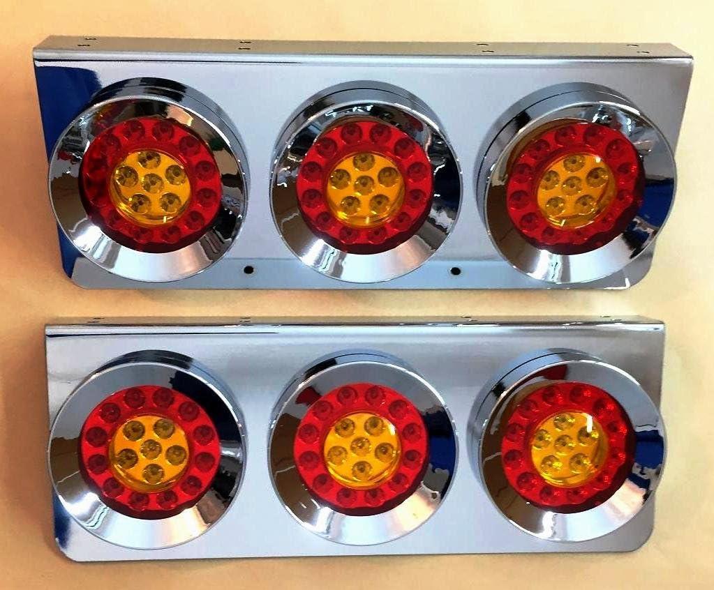 2x Chrome stainless steel hamburger LED rear tail triple lights 24V lamps for Scania MAN DAF Mercedes truck trailer chassis LKW