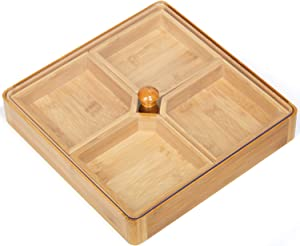 HYNAWIN Bamboo Food Serving Tray Nuts Storage Platter Dessert Fruit Food Serve Plate,Home Gift Multi-Function Tray with 4 Small Plates,Best Gift for Party, Family & Friends Gathering and Home Warming