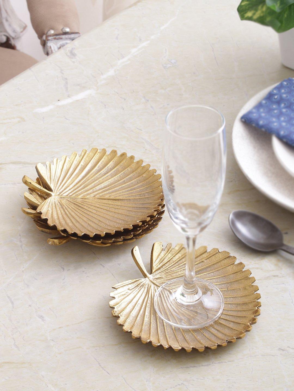 Sammsara Sabal Leaf Set Of 4 Coasters for Drinks,Tea Cups,Coffee Mugs,Beer Mugs. Coasters for drinks
