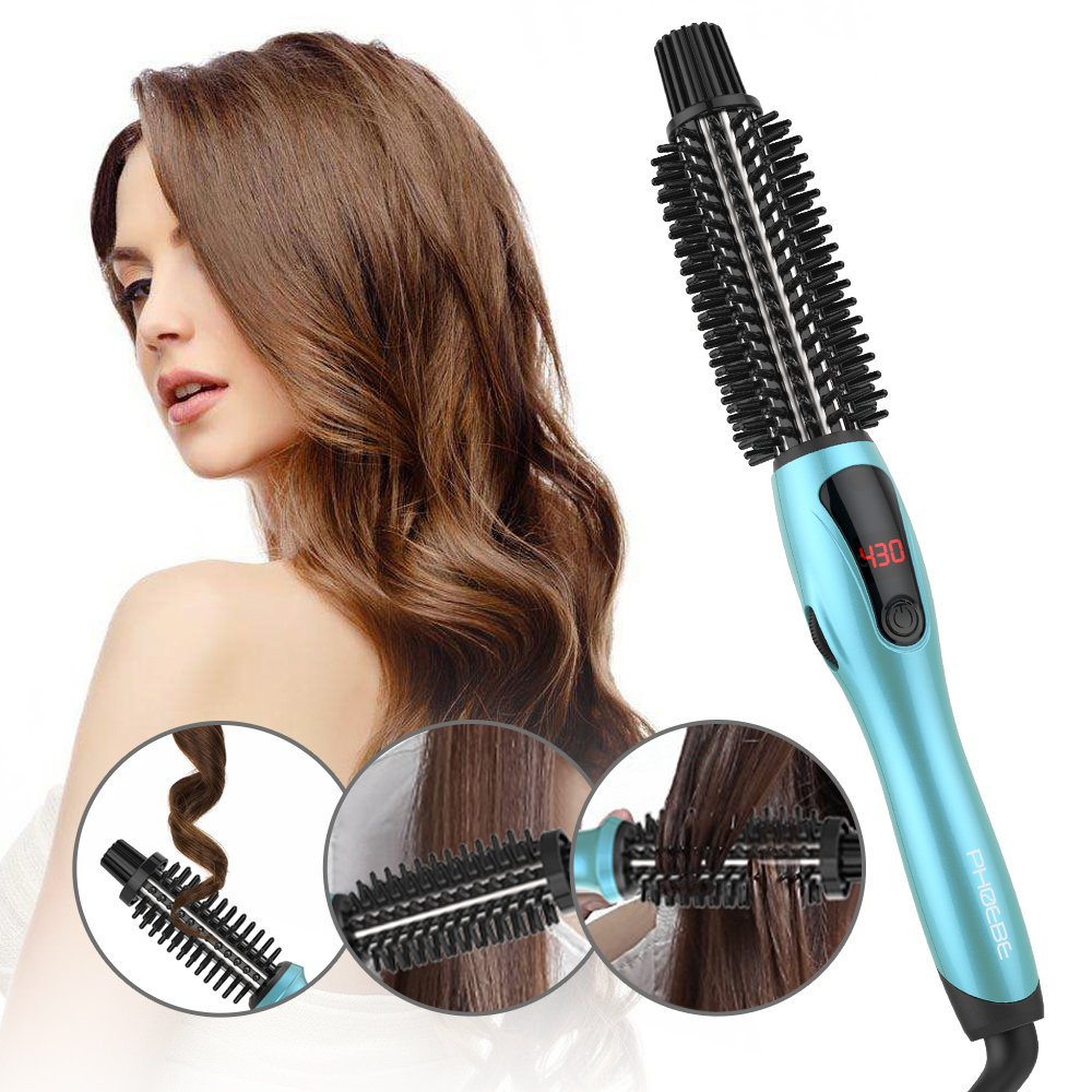 PHOEBE Curling Iron Brush, Dual Voltage Travel 1 Inch Ceramic Tourmaline Ionic Hair Curler Hot Brush, Professional Anti-Scald Instant Heat Up Curling Wands, Heated Styler Brush for Long Hair(Blue) by PHOEBE (Image #7)