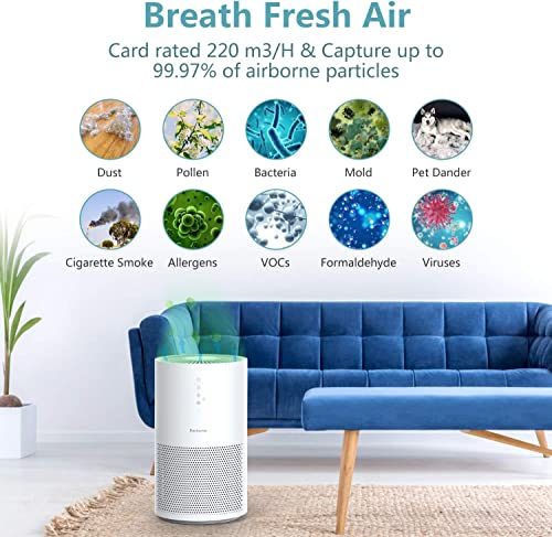 Elechomes Pro Series Air Purifier for Large Room with True HEPA Filter, Air Cleaner for Pets, Smokers, Pollen for Bedroom Home Office 280 ft , Smart Air Sensor, Auto Mode, Timer, EPI236