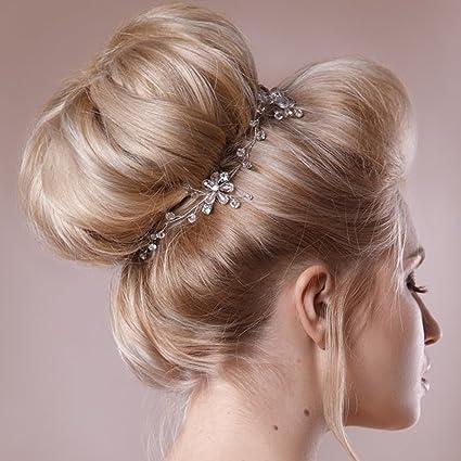 aukmla novia diadema para dama y Flowergirls cristal flores pelo Vine boda  flor tiara 00f6e8cfa8e7