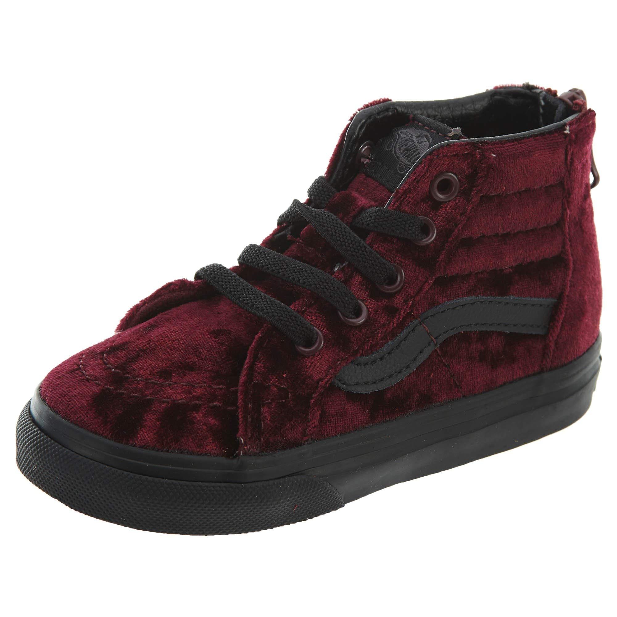 Vans SK8 HI ZIP Velvet Red/Black Toddler Girl Shoes 5.5