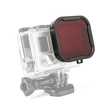 LuxeBell - Filtro de Buceo Rojo para Gopro Hero 4 Black, Silver y Hero3+ Carcasa Estandár