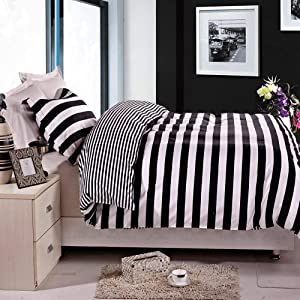 NTBAY 2 Pieces Duvet Cover Set Black and White Stripe Printed Microfiber Reversible Design(Twin, Stripe)