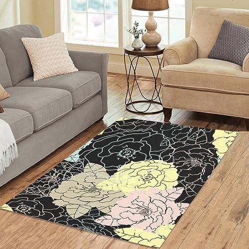 InterestPrint Gogogosky Custom Floral Pattern Area Rug Floor Rug Room Carpet 5 3 x4