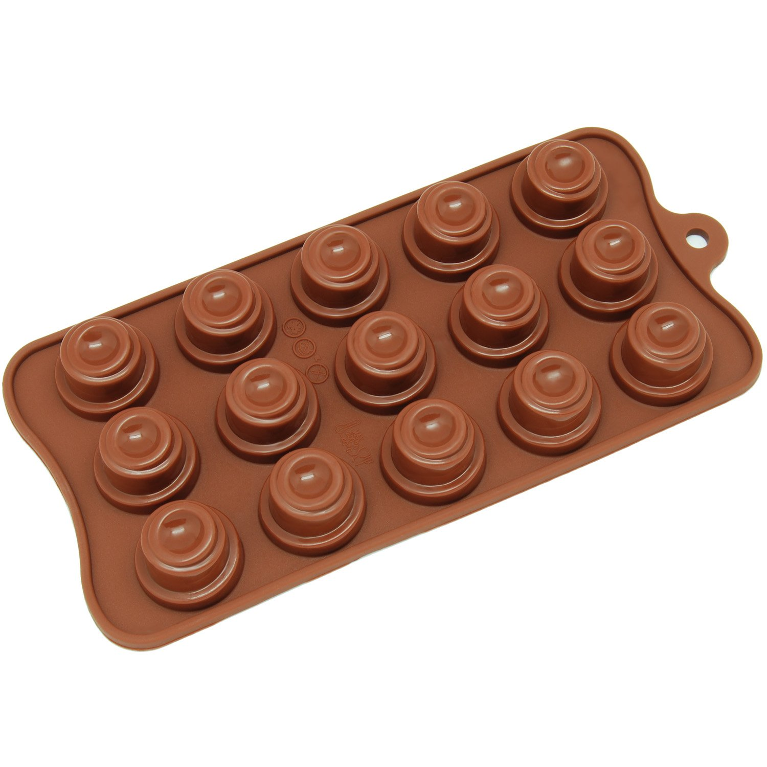 Freshware CB-609BR 15-Cavity Silicone Spiral Cone Chocolate, Candy and Gummy Mold