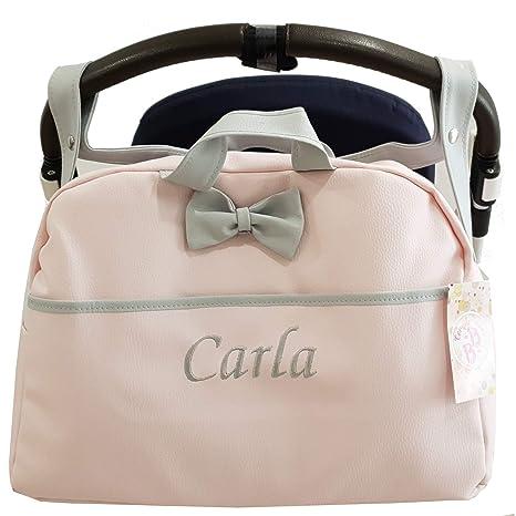 Bolso Polipiel Carrito Bebe Personalizado con nombre bordado Kona ROSA - Nombre bebé bordado