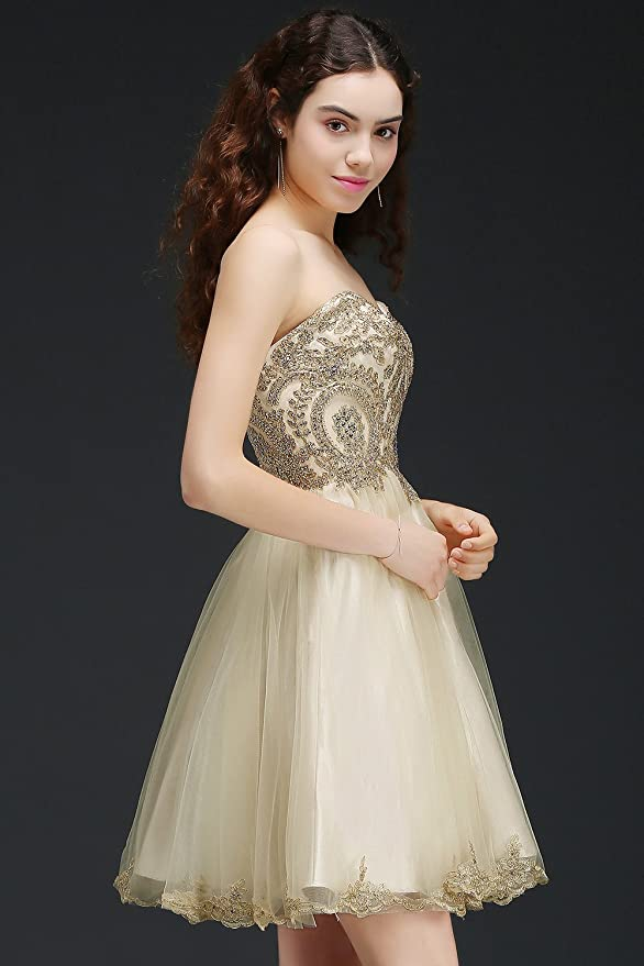 c71eb25a2d5 MisShow Women s Lace Applique Strapless Short Mini Cocktail Homecoming  Dresses at Amazon Women s Clothing store
