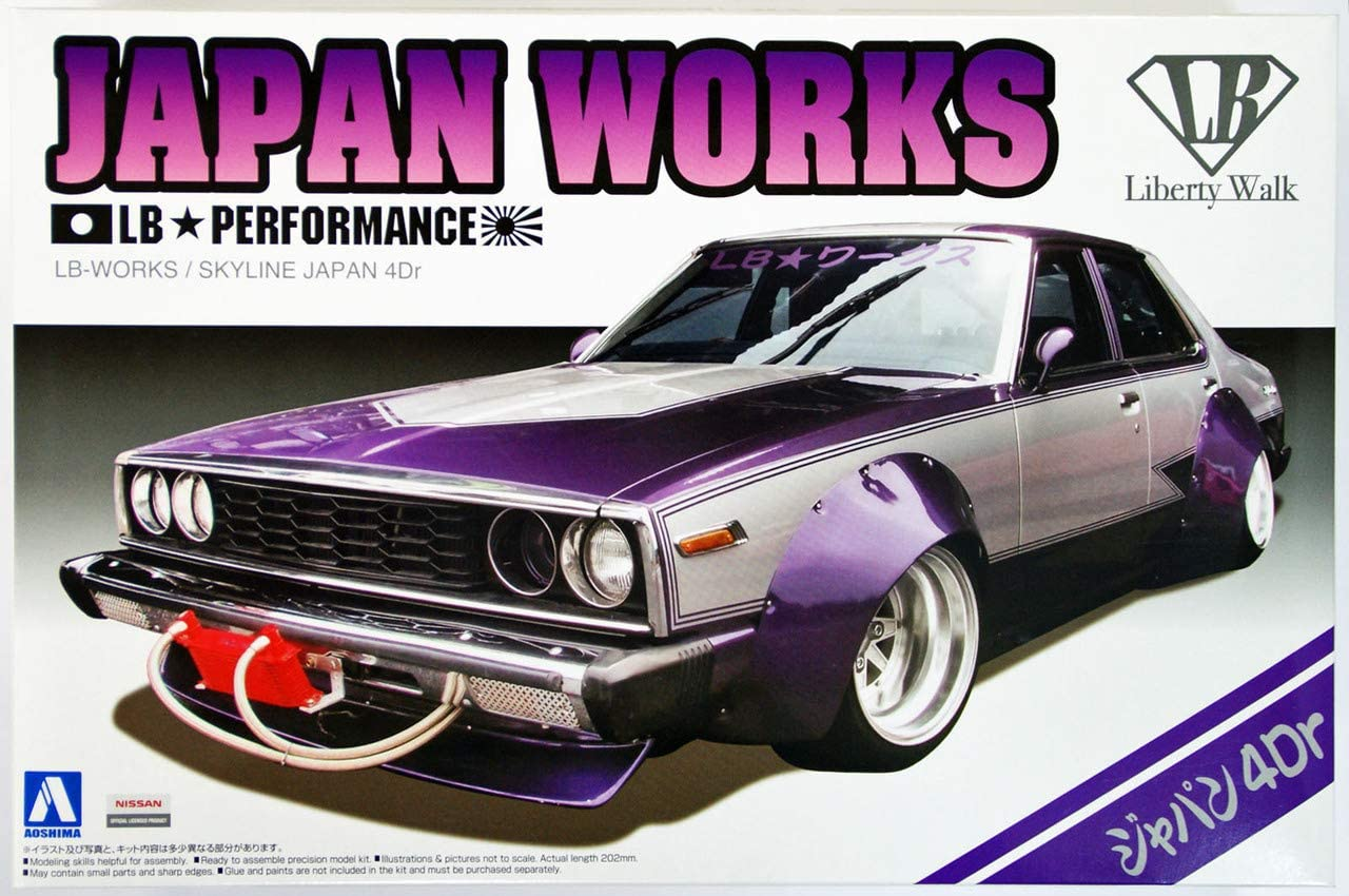 Aoshima 1/24 Scale LB Works Skyline Japan 4Dr - Plastic Car Model Building Kit # 09802