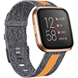 ZEBRE Woven Bands Compatible with Fitbit Versa 2 / Versa/Versa Lite, Breathable Woven Fabric Strap, Reflective Strip Replacem