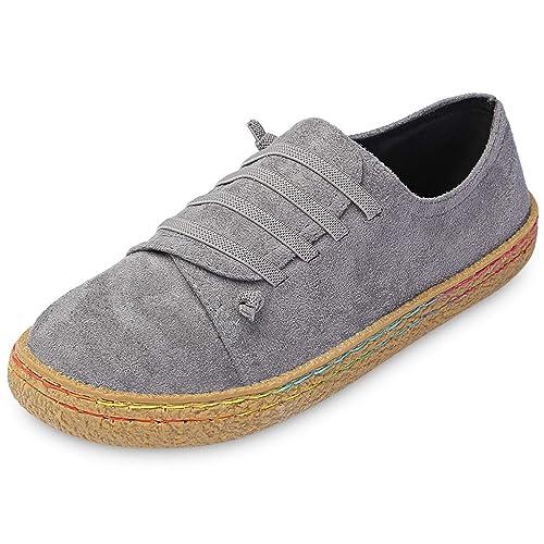 Moda Ronda Dedo del Pie con Cordones Slip-On Mocasines De Ante Las Mujeres Zapatos Planos: Amazon.es: Zapatos y complementos