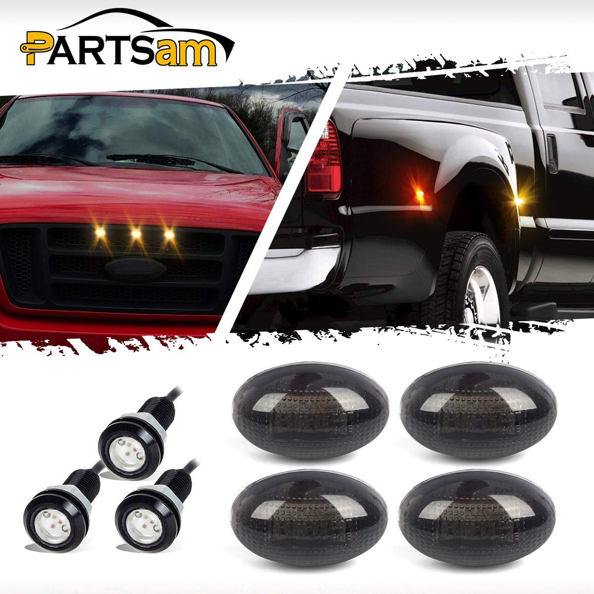 Partsam 4Pcs Dually Bed Fender Side Marker LED Lights 3Pcs SVT Raptor Style Amber LED Grille Lighting Kit Waterproof Compatible with Ford F350//F450//F550 Heavy Duty1999-2010 Aftermarket Replacement
