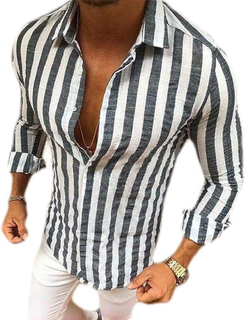 CRYYU Men Button Down Slim Fit Casual Long Sleeve Shirt Striped Classic Dress Shirts