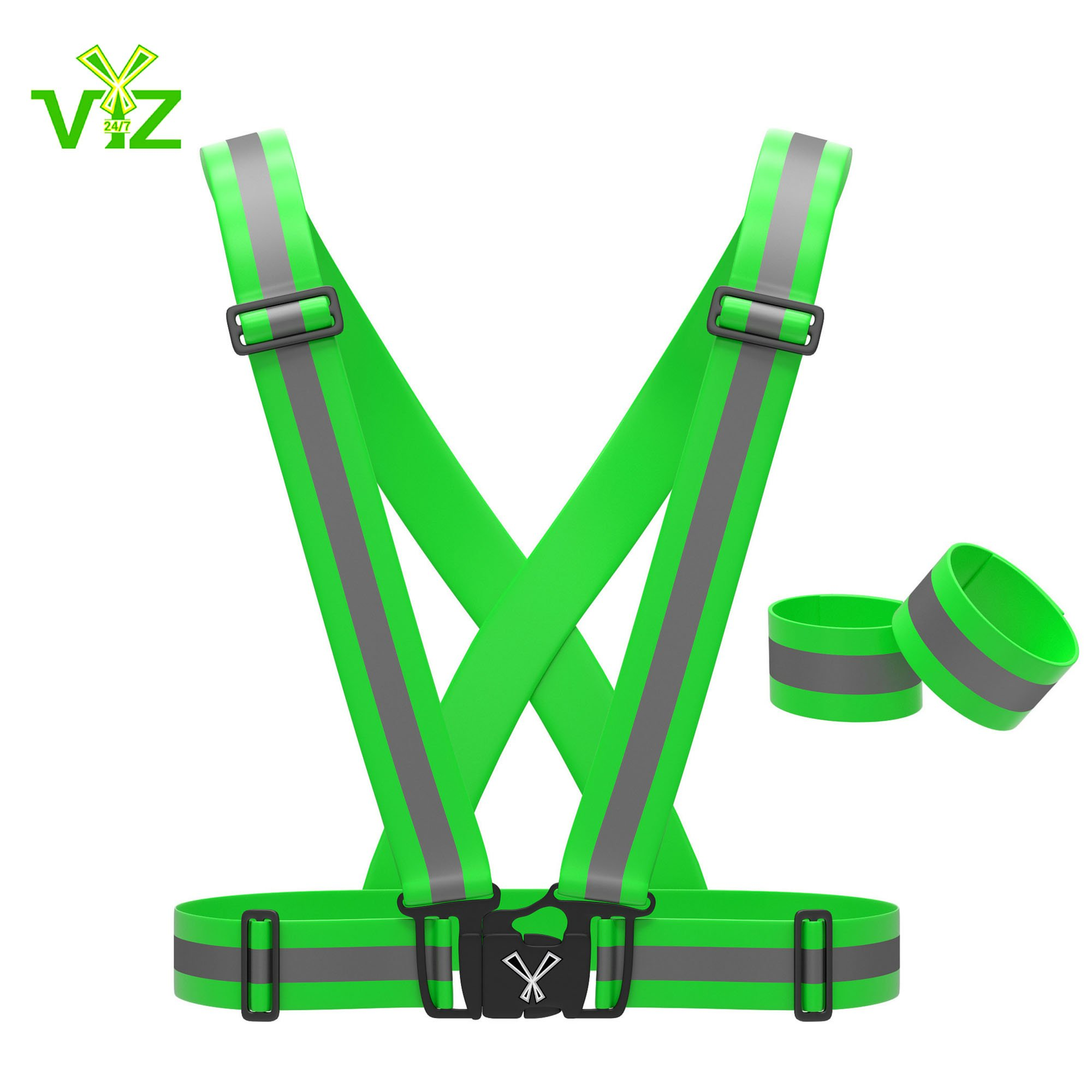 247 Viz Reflective Vest with Set of Hi Vis Bands, Fully Adjustable & Multi-purpose: Running, Cycling Gear, Motorcycle Safety, Dog Walking & More - High Visibility Neon Green, By