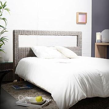 Kopfteil für Bett Bettkopfteil Doppelbett eckig 160 Rattan Korb ...