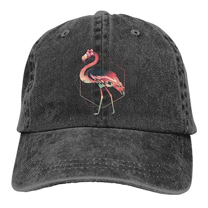Image Unavailable. Image not available for. Color  Walking Flamingo with  Flowers Cowboy Caps ... 29fc0b04632a