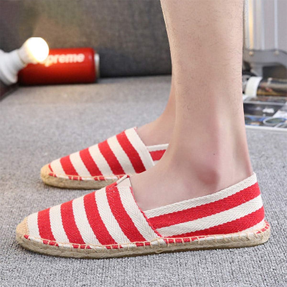 MEHOUSE Espadrilles D/Ét/é Mode Chaussures de P/êcheur Chaussures pour Femmes Chaussures Plates pour Femmes Rayures Rouges Baskets D/écontract/ées Baskets en Toile Femmes Respiran