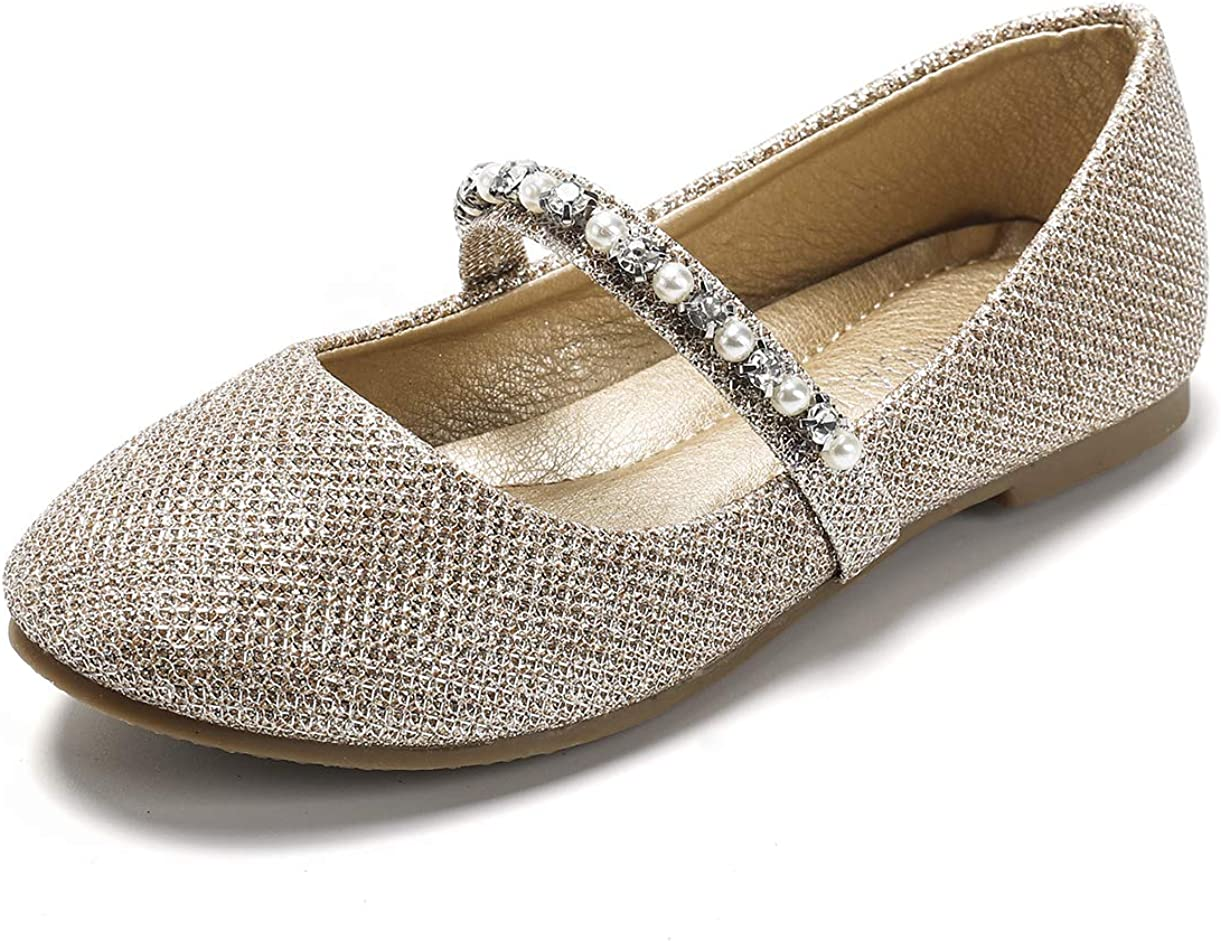 Amazon.com | SANDALUP Little Girls Dress Shoes Ballet Flats Inlaid with  Pearl and Rhinestone Strap | Flats