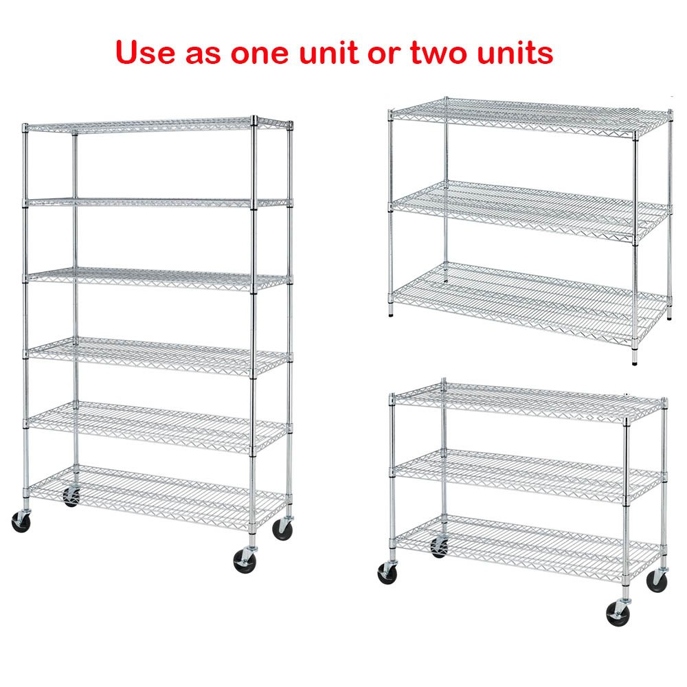"""NSF Wire Shelving Unit 6-shelf Large Storage Shelves Heavy Duty Metal Wire Rack Shelving Height Adjustable Commercial Grade Utility Steel Storage Rack on 4/"""" Casters 3600 LBS Capacity-18x48x76,Black"""